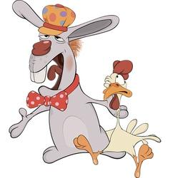 Easter rabbit and a cockerel cartoon vector
