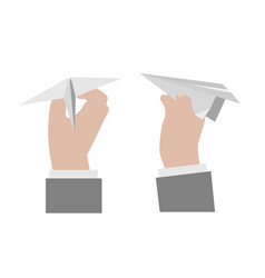 hand holding a paper airplane vector image vector image