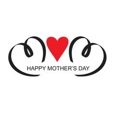 moms day headline with heart handmade calligraphy vector image vector image