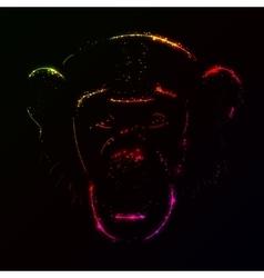 Monkey silhouette of gradient lights vector image vector image
