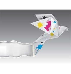 Origami bird with ink ripping paper vector image