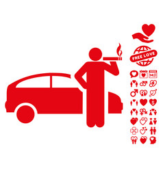 smoking taxi driver icon with dating bonus vector image