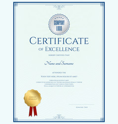 certificate of excellence template with gold vector image vector image