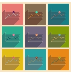Concept of flat icons with long shadow financial vector image vector image