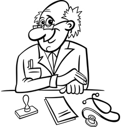 doctor in clinic black and white cartoon vector image vector image