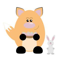 fox and rabbit happy vector image vector image