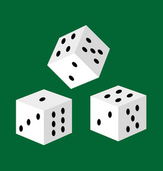 gambling white dice for casino risk and success vector image