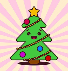 Kawaii Christmas tree with smiling face vector image vector image