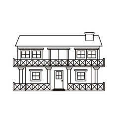 monochrome silhouette facade house of two floors vector image