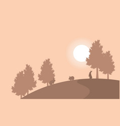 On the hill bunny landscape silhouettes vector