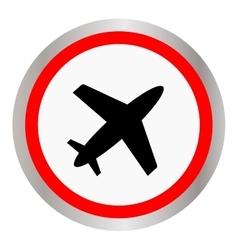 Round airplane icon black silhouette vector image