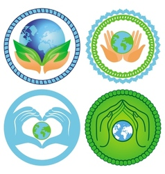 Set of ecology emblems vector image