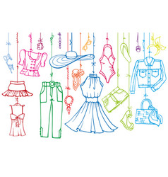 summer fashion setwoman linear wear hanging on vector image vector image