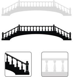 ancient arch stone bridge silhouettes vector image vector image