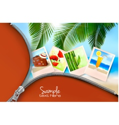 background with summer photos and zipper vector image vector image