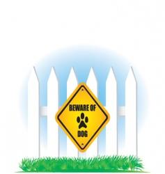 beware of dog yellow sign vector image