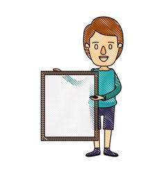 color crayon stripe cartoon full body man holding vector image