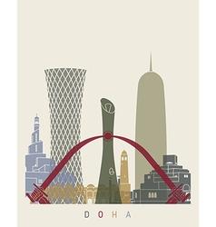 Doha skyline poster vector image