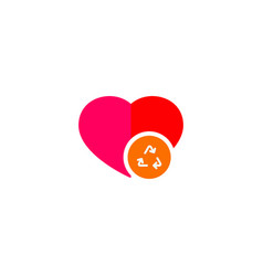 of an isolated flat red heart with a recycle sign vector image