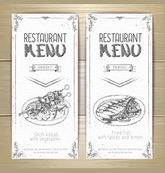 Set of restaurant menu hand drawn banners vector