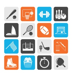 Silhouette Sport objects icons vector image