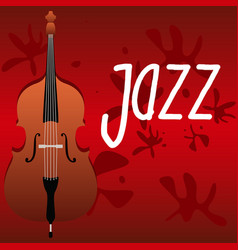 violoncello on a red background and the vector image vector image