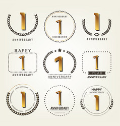 1 year anniversary logo set vector
