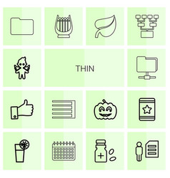 14 thin icons vector