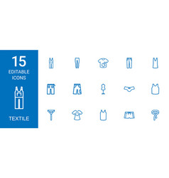 15 textile icons vector