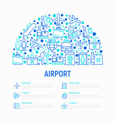airport concept in half circle with thin line icon vector image