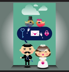An of cute wedding icons vector image