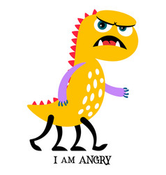 Angry yellow monster print design vector