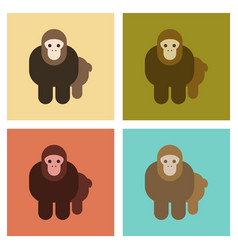 Assembly flat icons nature cartoon monkey vector