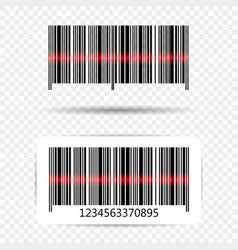 barcode with laser line barcode sticker vector image