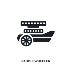 Black paddlewheeler isolated icon simple element vector