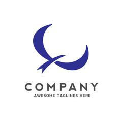 blue bird fly logo vector image