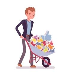 Businessman pushing a wheelbarrow full of likes vector