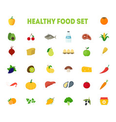 cartoon healthy food signs color icons big set vector image