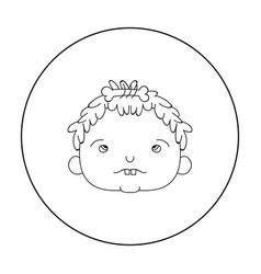 Cavechild face icon in outline style isolated on vector