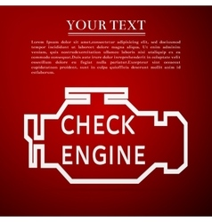 Check engine flat icon on red background vector image