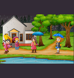 children walking under raining sky with an umbrell vector image