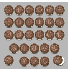 Chocolate cookies font Artistic sweet alphabet vector