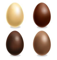 chocolate eggs set realistic white milk vector image
