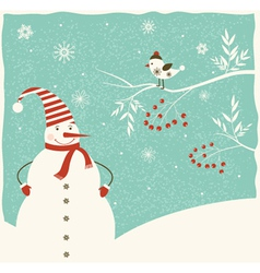 Christmas decoration with snowman and bird vector image