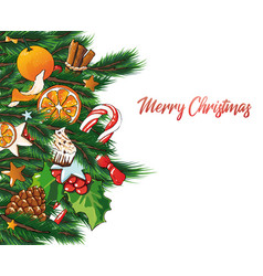 christmas with sweets and fir vector image