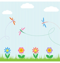 Colorful dragonflies and flowers vector