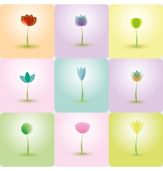 colorful flowers abstract icons for background vector image
