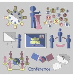 Conference icons set vector image