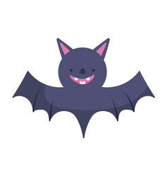 cute bat icon trick or treat happy halloween vector image