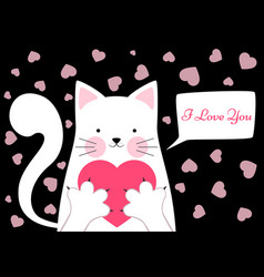 Cute funny cat with heart valentine s day vector